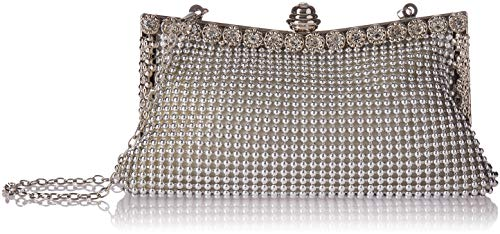 Patty Both Womens Aluminum Framed Clutch Bags Satin Inner Pearl Evening Bags