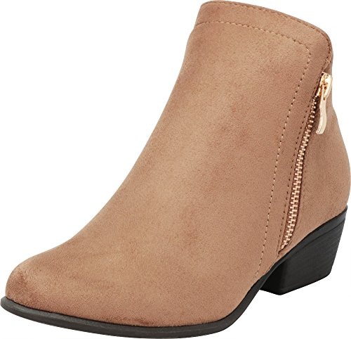 Taupe Classic Select Stacked Cambridge Block Low Imsu Chunky Zip Side Western Heel Bootie Women's Ankle wOOgEq