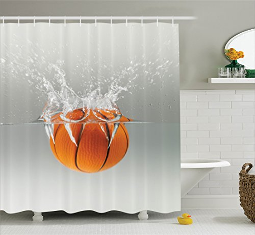 Ambesonne Sports Decor Collection, Falling Basketball Into Water Leisure National Sport Activity Entertaining Image, Polyester Fabric Bathroom Shower Curtain Set with Hooks, Orange Gray - College Basketball Rug