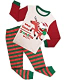 Family Feeling Little Boys Girls' Santa Claus Christmas Deer Cotton Long Sleeve Pajama Set 5-6years