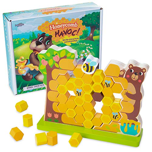 Imagination Generation Honeycomb Havoc! | Childrens Tabletop Board Game for Kids and Toddlers | Tumbling Tower Wooden Stacking Block Family Game Night Fun and Early Learning Play