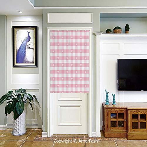 PUTIEN Japanese Noren Doorway Curtain/Tapestry Crane Noren Door Curtain Panel Room Divider,Checkered Lovely Romantic Pattern with Cute Little Hearts Children Kids Girlish Design