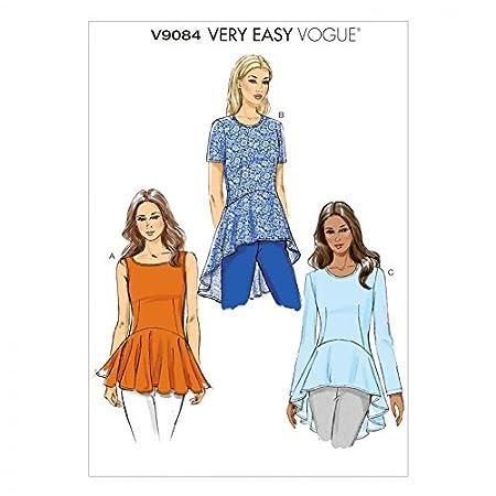 Vogue Ladies Easy Sewing Pattern 9084 Peplum Tops: Amazon.co.uk ...