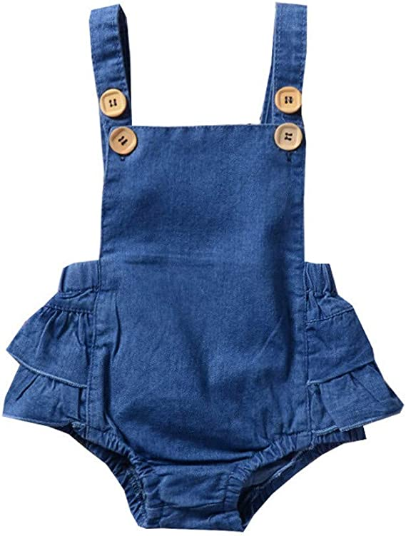 Womola Kids Blue Denim Jumpsuits Baby Girls Big Button Sleeveless Solid Straps Rompers Ruffle Skirts