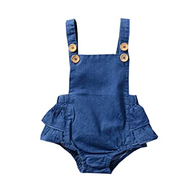 380077685fdd Cuekondy Newborn Toddler Baby Girl Sleeveless Strap Denim Romper Jumpsuit  Overalls 2019 Summer Clothes 0-