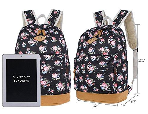 65867aca97f50f Retro Blumen Rucksack für Outdoor Camping Picknick Außflug Sports Uni  Rucksack Schultasche Flora Schwarz Flora Schwarz G4UCc0