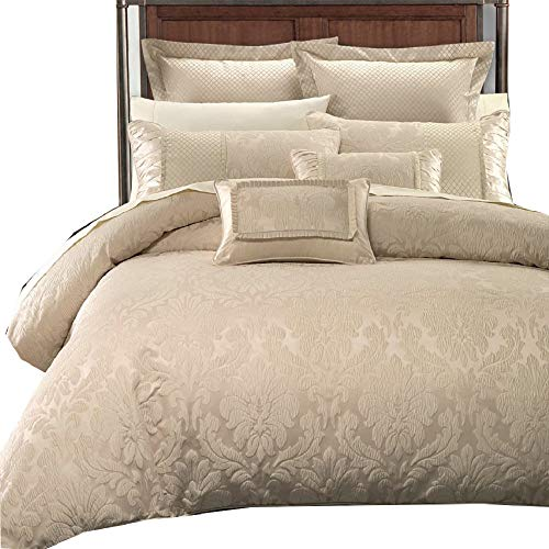 (Wholesalebeddings Sara Jacquard Cotton Blend, King-California King 7PC Cover Set, Multi-Tone of Beige)