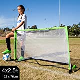 QuickPlay POP Goal 4 x 2.5' with Real Soccer Goal Mouth Shape - 10 Second Set-Up with Easy to Carry Slim Line Bag [Single Goal] – New for 2018