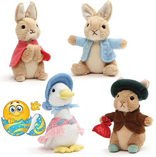 Gund Classic Peter Rabbit, Jemima Duck, Benjamin, and Flopsy Bunny, Collector's Set of 4 Plush 5