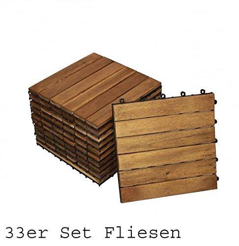 SAM® Sparset: Akazienholz Balkon Terrasse Bodenfliese 01 Holzfliese 33 Stück ca. 3 qm