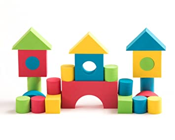 Teeny Toyz Creative Soft Foam Building Blocks ~100 Pieces ~Non Toxic Educational with Zippered Carry Bag Water-Proof Wood