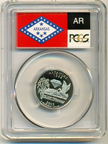 - 2003 S Arkansas State Clad Flag Label Proof Quarter PR70 DCAM PCGS