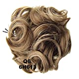 PrettyWit Hairpieces Short Curly Hair Extension Messy Hair Bun Updo Donut Hair Chignons Hair Piece Wig Scrunchy Bridal-Dark Chestnut Brown & Bleach Blonde 6H613