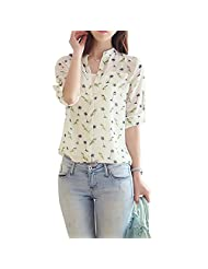 SODIAL(R)Casual Chiffon Women Blouse Long-sleeve Bird Printed Shirts Fashion Slim Blouse white S