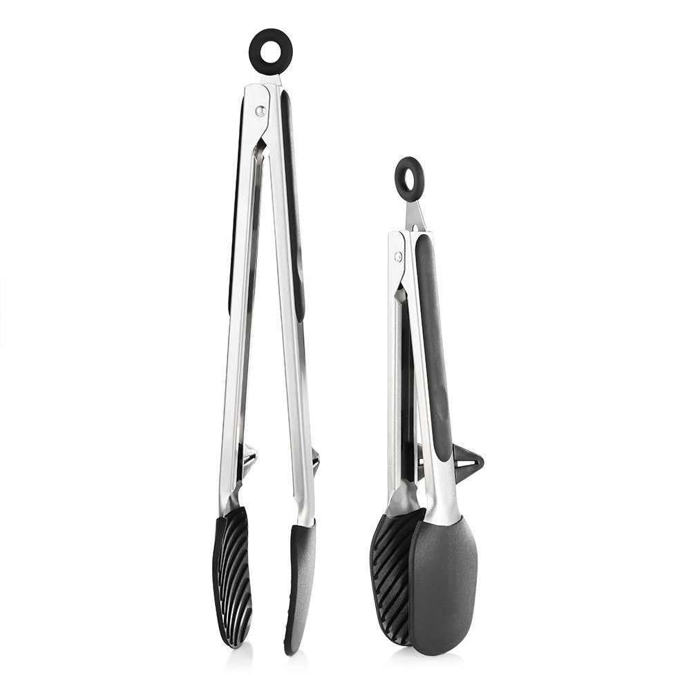 zanmini Kitchen Tongs, 9 inch and 12 inch Stainless-Steel Locking Tongs with Silicone Tips, Stands, Good Grips, Non-Stick for Cooking, Baking, Barbecue, Salad, Set of 2 (Balck)