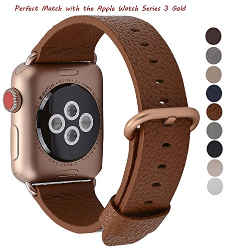 JSGJMY Apple Watch Band 38mm Women Light Brown Genuine Leather Loop Replacement Wrist Iwatch Strap with Gold Metal Clasp for Apple Watch Series 3 Gold