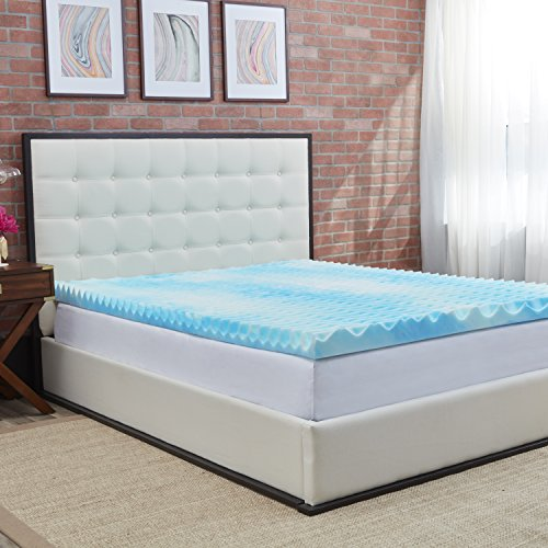 Authentic Comfort 3-Inch BlueWave Gel Memory Foam Mattress Topper, King (Sided Mattress King)