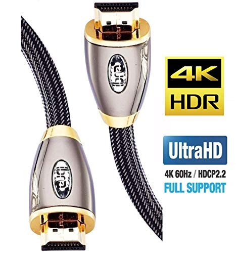 HDMI Cable 5 ft, High Speed HDMI 2.0 (4K 60Hz,4:4:4 Chroma), 18Gbps, 28AWG Braided HDMI to HDMI Cord, Gold Plated…