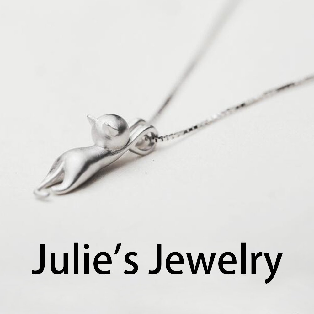Julie's Jewelry 925 sterling silver cute cat earring, rings, Pendant Collarbone Necklace & silver cat bracelet (necklace) by Julie's Jewelry (Image #2)