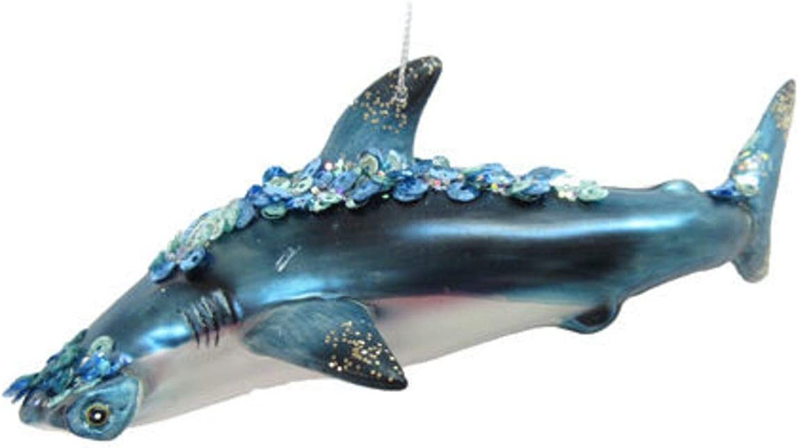 December Diamonds Glass Ornament - Hammerhead Shark with Jewels