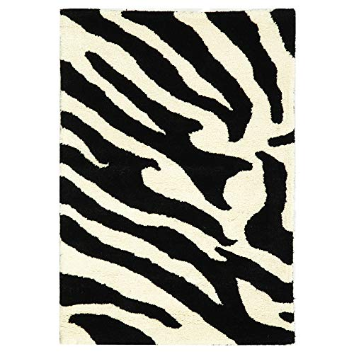 (Safavieh Soho Collection SOH717A Handmade White and Black Premium Wool Area Rug (2' x 3') (Renewed))
