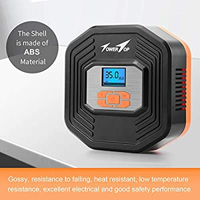 TowerTop Portable Air Compressor Pump/12V DC Digital Tire Inflator, Automatic Shut Off at Preset Pressure, 3 Way Safety LED Lights Ideal for Car, Bicycle, Motorcycle, Balls: Automotive