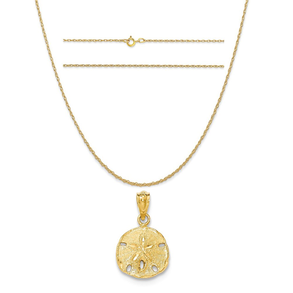 K/&C 14k Yellow Gold Polished and Textured Sanddollar Pendant on Carded Rope Chain Necklace