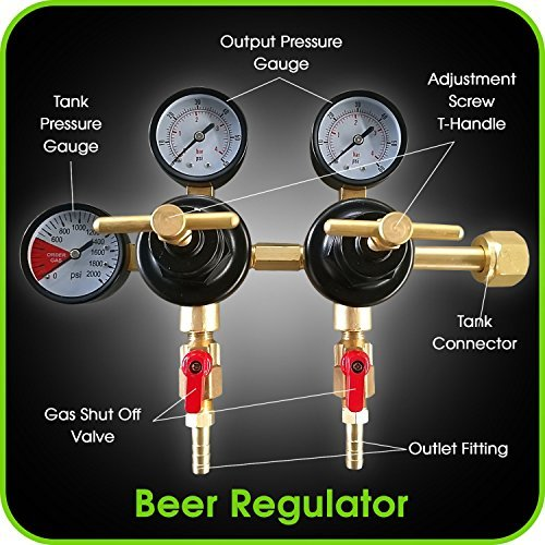 Co2 Beer Regulator Two Product Dual Pressure Kegerator Heavy Duty Features T-Style Adjusting Handle - 0 to 60 PSI-0 to 3000 Tank Pressure CGA-320 Inlet w/ 3/8'' O.D. Safety Discharge 50-55 PSI