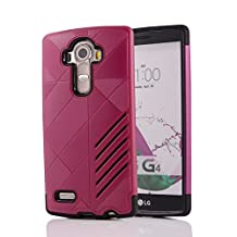 MOONCASE LG G4 Case Hybrid Armor Tough Rugged [Anti Scratch] Dual Layer TPU +PC Frame Protective Case Cover for LG G4 Hotpink