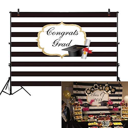 Allenjoy 8x6ft Photography backdrops Congrats Grad Graduation Prom Party Class of 2019 Black and White Stripe Banner Photo Studio Booth Background photocall -