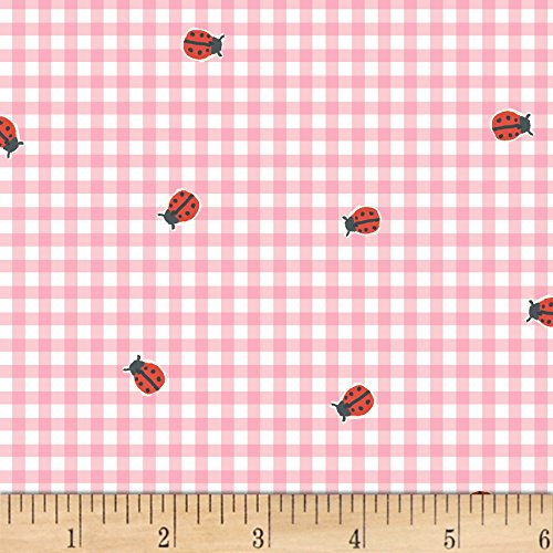 Windham Fabrics BFFs Ladybug Check Pink Fabric by The Yard