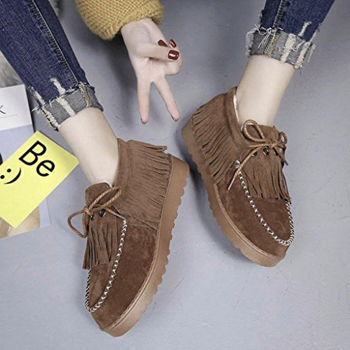 Winter Fur Ankle Shoes Boots Boots Brown Snow Women's Lined Winter Egmy Tassel Flat Shoes Lazy Warm TxS5w