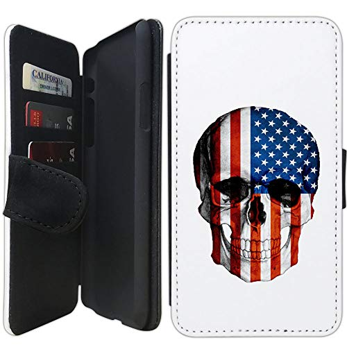 Flip Wallet Case Compatible with iPhone Xs MAX (6.5 inch) (Glory Skull Head American Flag) with Adjustable Stand and 3 Card Holders | Lightweight | Includes Free Stylus Pen by - Skull Glory Snap