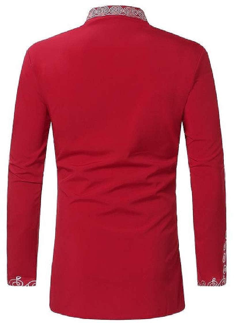 Joe Wenko Mens Ethnic Style Long Sleeve Printed Muslim Stand Neck Dashiki Button Down Shirts