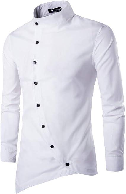 ZODOF Camisa de Manga Larga Hombres de Manga Larga Camisa de Hombres Negocio Botón Formal Slim Fit Blusa Tops Camisa de Hombre: Amazon.es: Ropa y accesorios