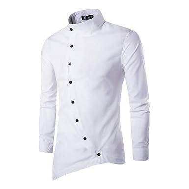 282c420b6 BUSIM Men's Long Sleeve Shirt Casual Irregular Slim Slim Door Stand Collar  Fashion Slim Party T