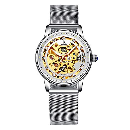 - Women's Self Winding Watch Mechanical Automatic Skeleton Silver Stainless Steel Waterproof Luminous