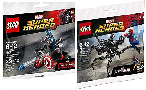 Lego Spider-Man VS Captain America Lego Super Heroes: Civil War Captain America Motorcycle Mini Figure Marvel 3044 & Spider-Man Super Jumper The Venom Symbiote #30448