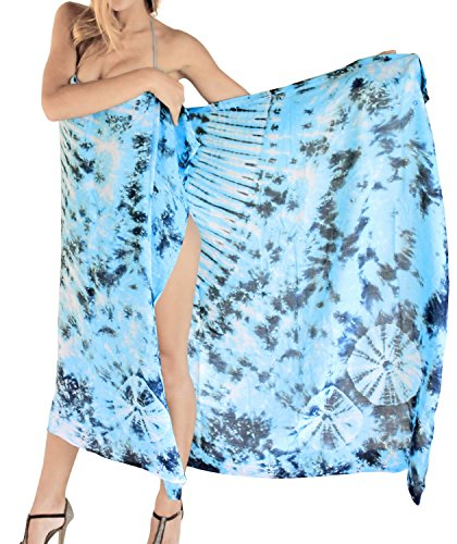 La Leela Rayon Resort Island Beach Cover ups Lightweight Bathing Suit Sarong Hand Tie Dye Sky Blue/White/Navy One Size (Blue Sky Dye Tie)