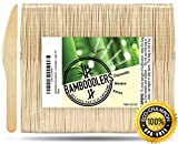 "Disposable Wooden Knives by Bamboodlers | 100% All-Natural, Eco-Friendly, Biodegradable, and Compostable - Because Earth is Awesome! Pack of 100- 6.5"" knives."