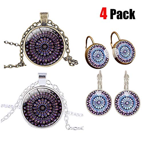 Running Pet 4 Pack Rose Window Stained Glass Necklace with Earring Rose Window Ornament Souvenir Notre Dame Cathedral De Paris Memorial Pendant Necklace