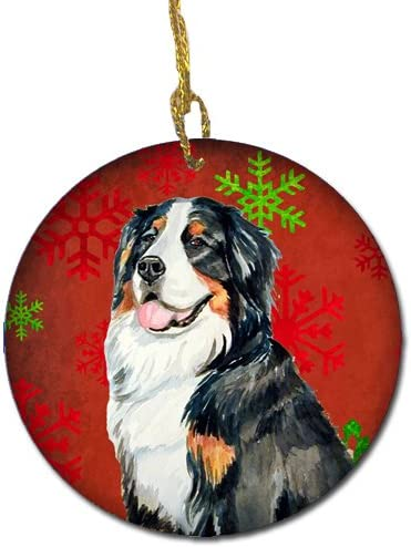 Carolines Treasures LH9334-CO1 Bernese Mountain Dog Red Snowflake Holiday Christmas Ceramic Ornament Multicolor