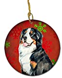 Caroline's Treasures LH9334-CO1 Bernese Mountain Dog Red Snowflake Holiday Christmas Ceramic Ornament, Multicolor