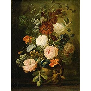 The High Quality Polyster Canvas Of Oil Painting 'Jan Van Huysum, Dutch Vase Of Flowers' ,size: 16x21 Inch / 41x54 Cm ,this Best Price Art Decorative Prints On Canvas Is Fit For Bathroom Gallery Art And Home Decoration And Gifts