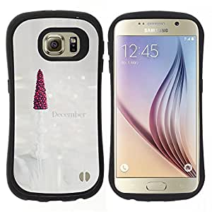 """Hypernova Slim Fit Dual Barniz Protector Caso Case Funda Para Samsung Galaxy S6 [Arte árbol diciembre Blanca Navidad""""]"""