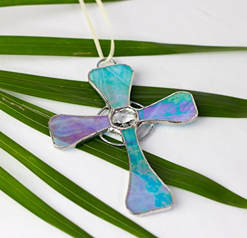 Stained Glass Cross Crucifix Catholic Christian Iridescent Mother of Pearl Tiffany-Style Suncatcher