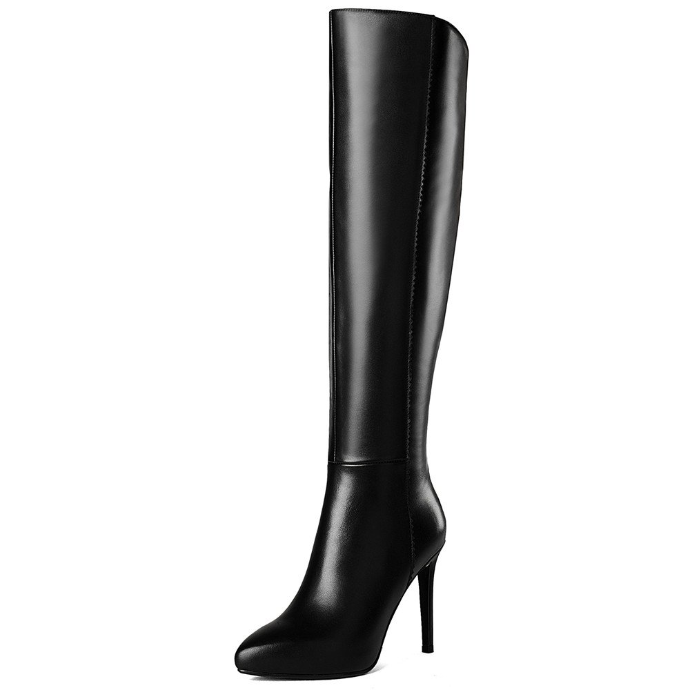 Nine Seven Genuine Leather Women's Pointed Toe Stiletto Heel Business Elegant Handmade Knee High Boots (8, Black)