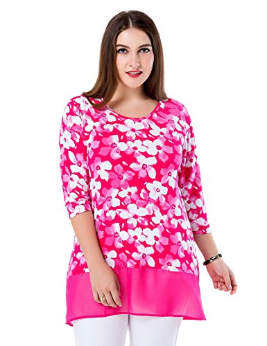 Chicwe Women's Floral Printed Round Neck Plus Size Tunic Top with Chiffon Hem Rose Pink