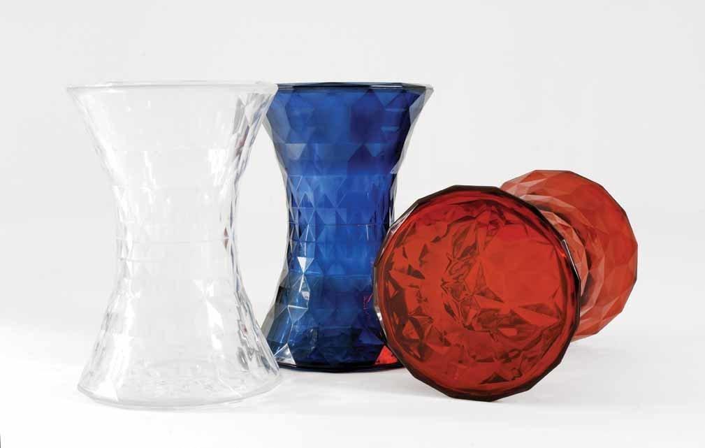 Design Beistelltisch Sofatisch Stone Hocker Couchtisch glasklar Kartell Marcel Wanders