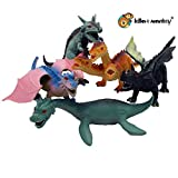 Lello & Monkey Dragon dinosaur fantasy toy plastic figures set of 5 including loch ness monster